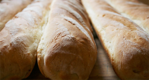 close up of crusty baguettes